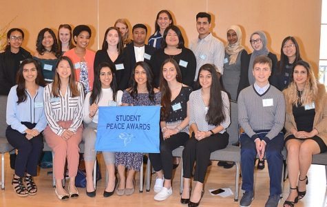 On March 10, the Student Peace Awards honored Angie Sohn (pictured second row, first from the left).