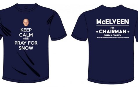 A part of Ryan McElveen's campaign for school board chairman of FCPS includes selling shirts that call back to his famous reputation for announcing snow days and delays.