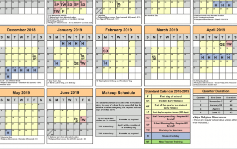 The schedule for the 2018-2019 FCPS school year.