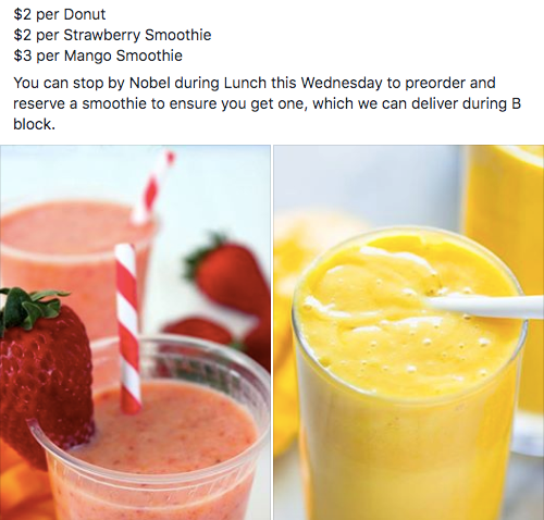 A screenshot of a Facebook post advertising the smoothie sale.