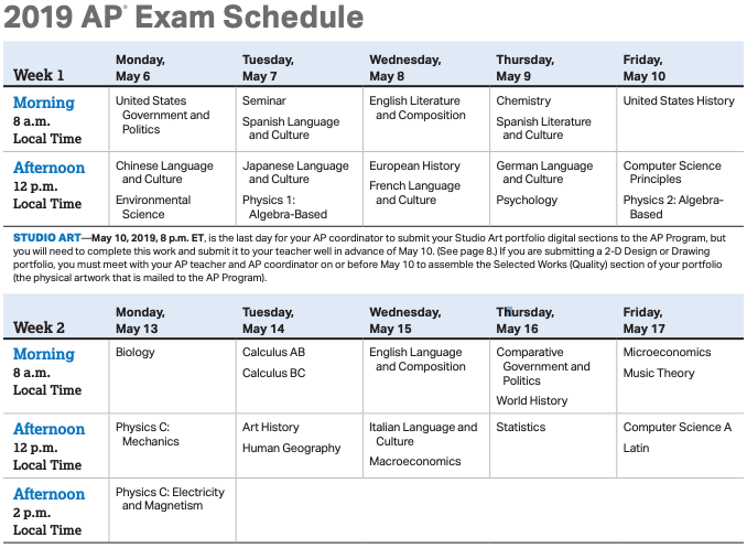 A picture of the AP exam schedule, courtesy of the College Board.