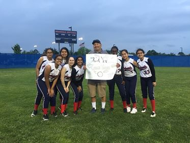 Jefferson's JV softball team played Wakefield HS for their last game, coincidentally on their Coach, Mark Travis' birthday.