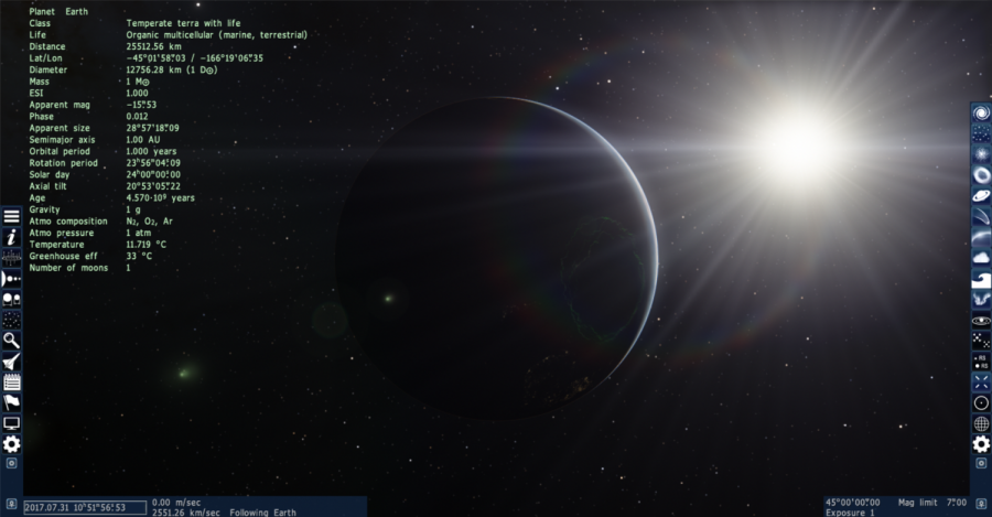 Earth and the Sun, as well as the game's GUI are shown in this SpaceEngine screenshot. SpaceEngine, although not as renowned as some games, provides an opportunity to explore the universe.
