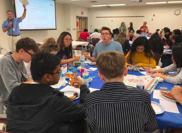 Jefferson students get time to know some of the exchange students. The RANEPA students had just arrived at the school for the welcome luncheon. The Jefferson students paired up with one RANEPA student to attend class with before they began their research project.
