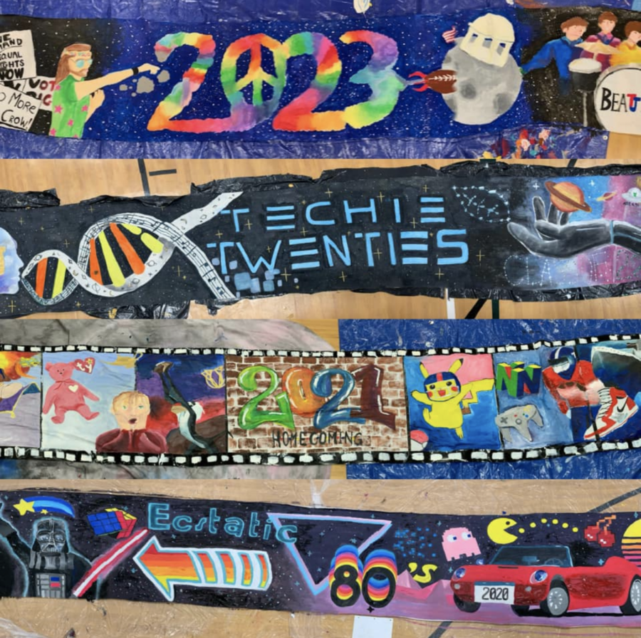 The four decade-themed banners were painted and finished during two eighth-period blocks.