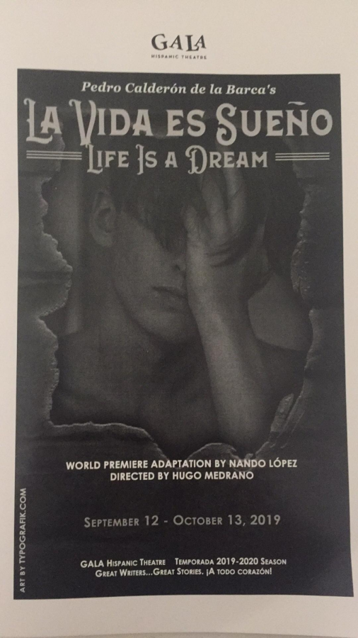 """Junior Riya Boyapati holds a playbill from the performance, """"La Vida es Sueño."""" The two-hour play is performed entirely in Spanish and explores the themes of free will, fate, and loyalty."""