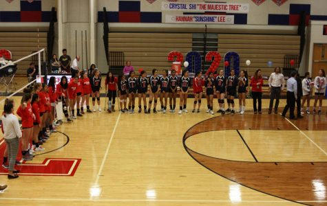 "Before the match, the Varsity and JV volleyball teams line up to thank the seniors players for their commitment and dedication throughout the season. Overall playing volleyball has been a very uplifting experience and I would definitely do it all over again,"" senior captain Andra Velea said. Velea has played volleyball for Jefferson for all four years of highschool."