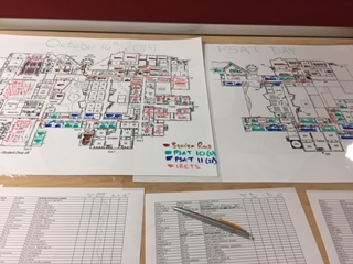 "In order to keep track of where everyone is going to be in the building on the PSAT day, Jefferson testing coordinator Leslie Barnhart uses color-coded maps. ""Each IBET has its own little flavor to it,"" Barnhart said. ""I know they're going to be all over the building."""
