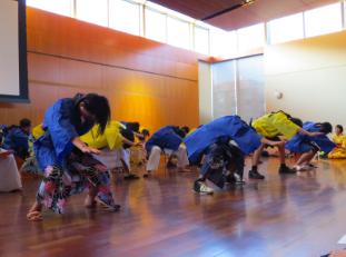 Japanese students perform the traditional dance Sōran Bushi at the Bunka no Hi, the Japanese cultural festival.