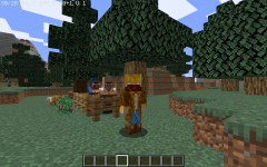 A version 1.14 Minecraft player with a few new features from 1.14 on display. 1.14, the Village and Pillage update added Pillagers, Wandering Traders, new villager skins, foxes, and sweet berry bushes.