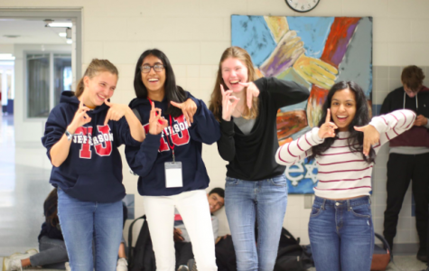 German exchange students having fun while teaching German culture to Jefferson students, Celia Vander Ploeg Fallon (second from left) and Nimisha Panabakam (far right).