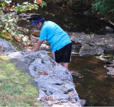 "Jawand Singh observes a stream, collecting a water sample to study later. The streams IBET will take multiple trips to streams in the area to collect data and find areas of interest for their research projects.  ""We are gonna be analyzing ecologies of streams in the area and we will be doing that by analyzing the pH and by counting microorganisms,"" freshman Lynn Tao said."