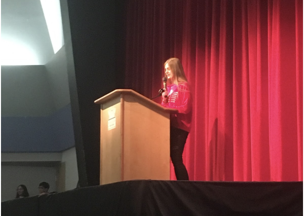 "Freshman Johanna Lohmus gives her speech during class council elections. ""Even if you don't win, running is a good experience,"" Lohmus said."