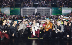 The seven members of K-pop group SuperM, from left to right are Mark, Kai, Taeyong, Taemin, Lucas, Baekhyun, and Ten, pose at their concert at Eagle Bank Arena on Nov. 17th.