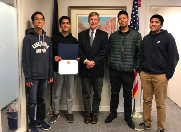 "From left to right, Sagar Gupta, Sahil Gupta, Rep. Donald Beyer, Autin Mitra, Sumanth Ratna pose with Rep. Don Beyer, representative for Virginia's 8th Congressional District. ""Representative Beyer was welcoming and it was a once in a lifetime experience,"" Sagar said."