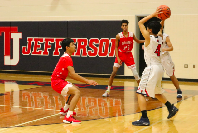 Dan Nguyen takes the ball as Jefferson is awarded an inbound pass. The game appears to be going well as Jefferson starts off with a strong lead.