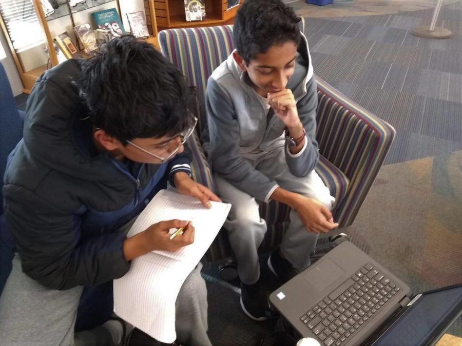 With the end of the second quarter quickly approaching, freshmen Aakash Vatti (left) and Raghav Tirumale (right) work on homework problems for Research Statistics 1 (RS 1). RS 1 is offered to freshmen in the fall semester, after which they take Jefferson's unique math courses, such as Math 3.