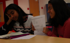 A toxic, high pressure environment can force students to perpetually compare their grades and achievements to other students. Pictured: Freshmen Miriam Antony (right), Keertana Senthilkumara (left).