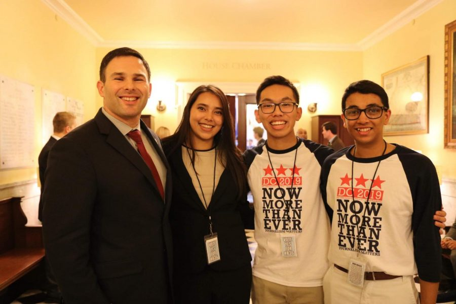 Junior Pratika Katiyar, junior Sean Nguyen, and senior Sid Ram meet with Del. Helmer.