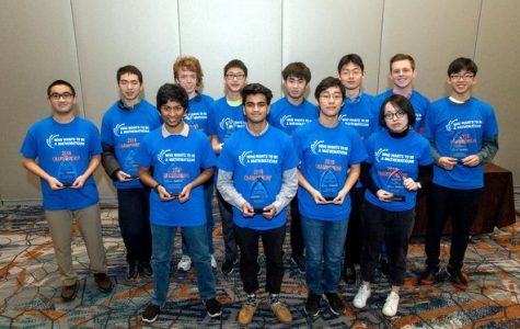 Senior Alex Chung (furthest on the right) poses with fellow students at the 2019 WWTBAM Championships