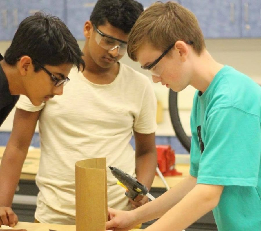 "During a Design & Tech class, freshman Patrick Gaucher works on building a prototype. ""I am worried about college because I know that getting good grades while maintaining a sport and extracurricular is going to be hard,"" Gaucher said."