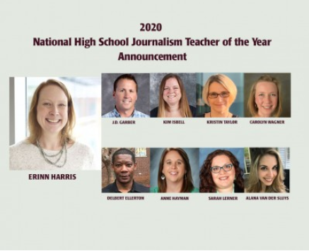 Jefferson's journalism advisor Ms. Erinn Harris was awarded the Columbia Scholastic Press Award (CSPA) 2020 National High School Journalism Teacher of the Year award. She will receive her award at the CSPA's annual spring convention.