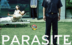 The movie poster for the American showings of award-winning Korean film, Parasite