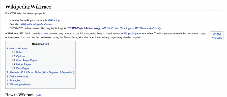 The+Wikipedia+page+for+Wikirace+explains+what+a+Wikirace+is+and+the+rules+for+racing.+%22A+Wikirace+is+a+race+between+any+number+of+participants%2C+using+links+to+travel+from+one+Wikipedia+page+to+another%2C%22+Wikipedia+writes.+These+types+of+races+have+become+increasingly+popular%2C+with+online+websites%2C+such+as+thewikigame.com++being+made+to+facilitate+online+racing.