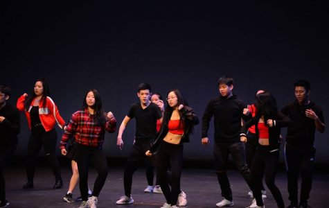 Julia Chen dances in the front row of the 2019 KCC iNite performance.
