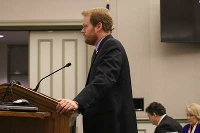 Delegate Chris Hurst speaks in front of the education committee to try and pass HB36. Photo taken by Macie Blankenship.