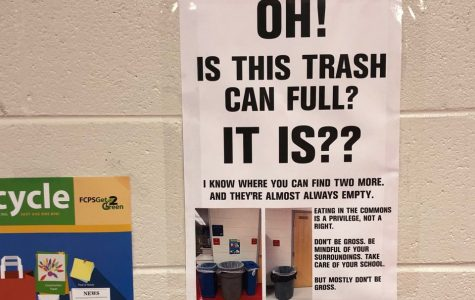 English Teacher Errin Harris, whose room is situated in IBET Commons, has this poster outside her room above a trash can.