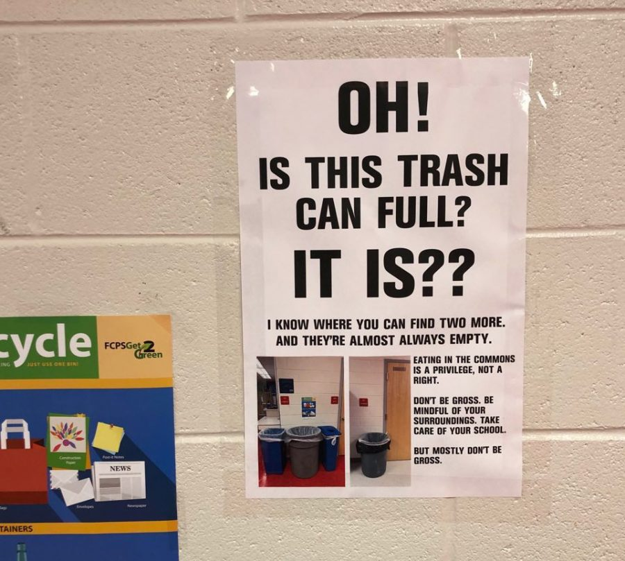 English+Teacher+Errin+Harris%2C+whose+room+is+situated+in+IBET+Commons%2C+has+this+poster+outside+her+room+above+a+trash+can.+%22Eating+in+the+commons+is+a+privilege%2C+not+a+right%2C%22+says+the+poster.+Trash+is+the+primary+concern+for+teachers+and+staff%2C+due+to+its+ability+to+attract+rodents