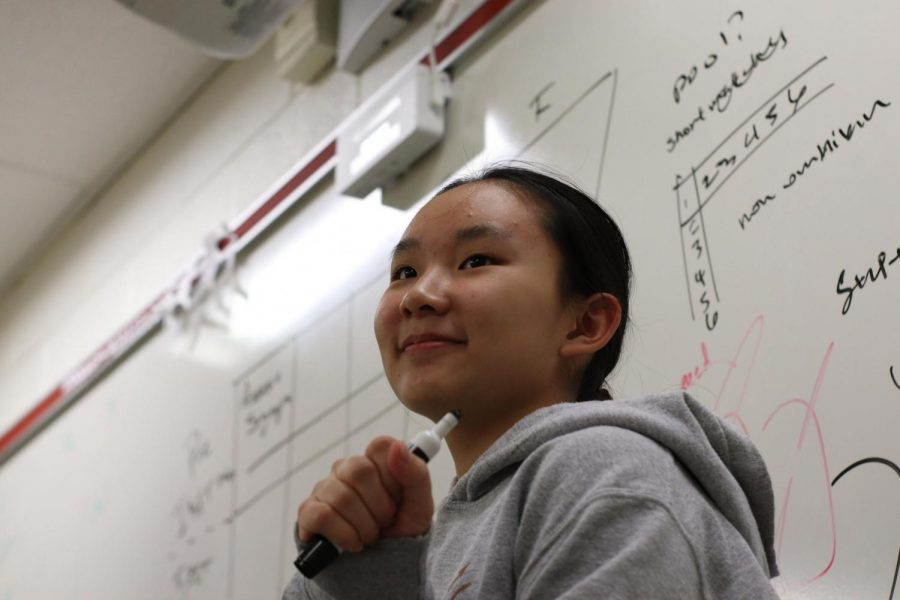 Freshman Class Council treasurer Grace Guan brainstorms fundraiser ideas during a meeting.