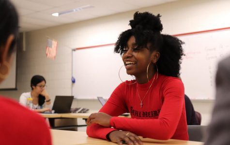 "Kimberly Boateng consults students about issues they face at Jefferson. FCPS School Board Student Representative and junior at South Lakes High School, Boateng has visited multiple schools across Fairfax County in hopes of better representing all FCPS students. ""Our county is so big and unfortunately that means if we are not making our voices heard then they're likely not going to be considered. It is so important for students to get involved so I'm hoping that I can inspire students to do so by visiting,"" Boateng said."