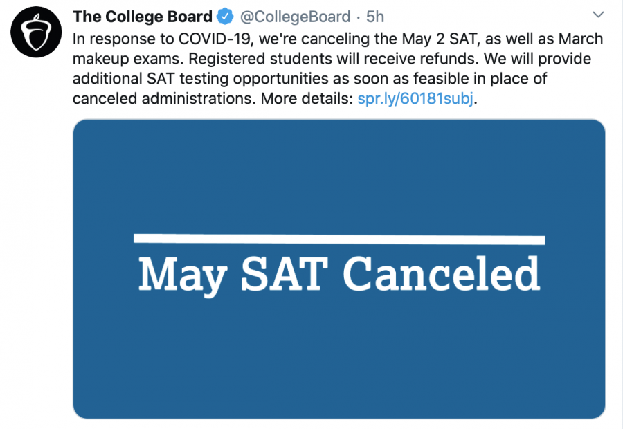 The+statement+posted+by+CollegeBoard+in+regards+to+the+cancellation+of+upcoming+SAT+administrations.