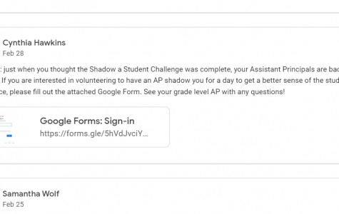 An announcement on Google Classroom about the assistant principals' new shadowing program.