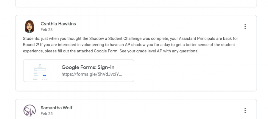 An+announcement+on+Google+Classroom+about+the+assistant+principals%27+new+shadowing+program.+