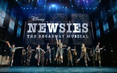 The Disney's Newsies: The Broadway Musical cast jumps during the live recorded performance of Newsies. The Broadway musical itself won two Tony awards and toured nationwide. The musical was filmed live and came to limited theaters across the US, as well as being available on DVD and Disney+.