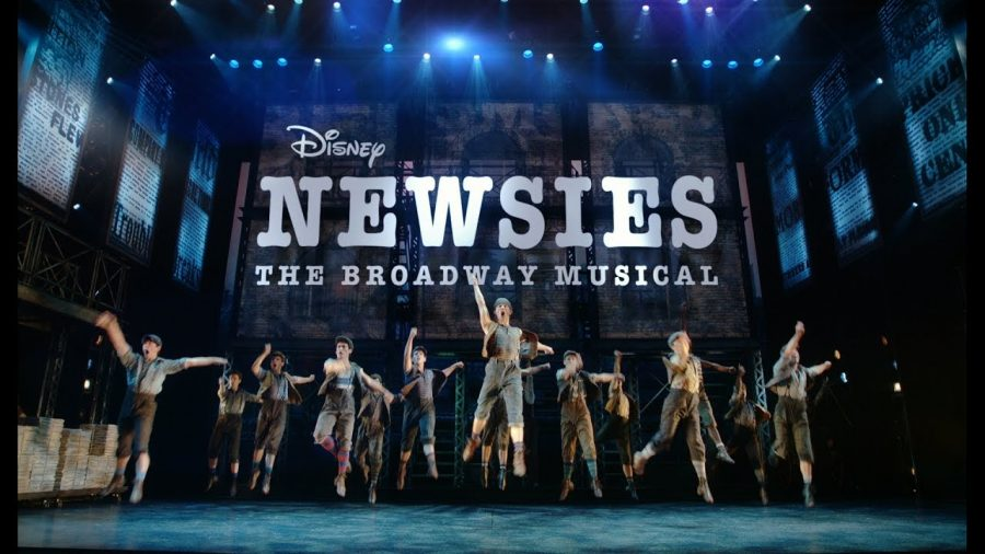 The+Disney%E2%80%99s+Newsies%3A+The+Broadway+Musical+cast+jumps+during+the+live+recorded+performance+of+Newsies.+The+Broadway+musical+itself+won+two+Tony+awards+and+toured+nationwide.+The+musical+was+filmed+live+and+came+to+limited+theaters+across+the+US%2C+as+well+as+being+available+on+DVD+and+Disney%2B.+