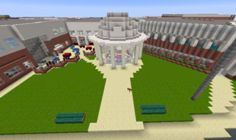 "Pictured is the Jefferson dome entrance built in Minecraft. ""The Minecraft replica is coming together really well,"" junior Quentin Lovejoy said. ""Everything has worked out how we imagined."""
