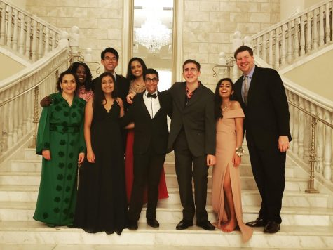 Senior Michael Kyrychenko with other members of the Prom planning committee and the Class of 2019 sponsors. Several members of the Class of 2020 were disappointed that Prom, an event they spent all year looking forward to, was cancelled.