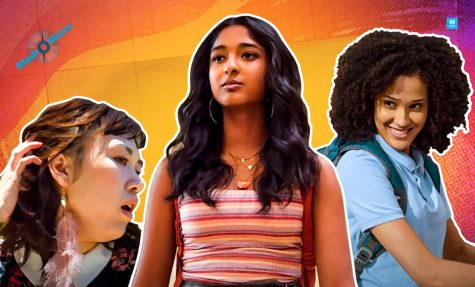 Main character Devi Vishwakumar, played by Maitreyi Ramakrishnan, surrounded by Fabiola Torres, played by Lee Rodriguez and Eleanor Wong, played by Ramona Young.