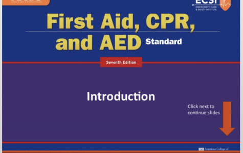 """The online course from the Emergency Care and Safety Institute (ECSI) for learning CPR, AED, and first aid as required by the state. There are 7 modules which freshmen must complete as well as a ten question test as opposed to the hands-on experience students would get in a regular school year. """"Under normal circumstances, the way I teach this at school is to cover a module, and then go into the hands on or lab portion of the course. This is where students will practice the proper way to apply a sling, provide direct pressure for bleeding wounds, or learn how to put a splint on a broken arm, or leg, along with additional topics,"""" health and P.E. teacher Mr. Barry Potoker said."""