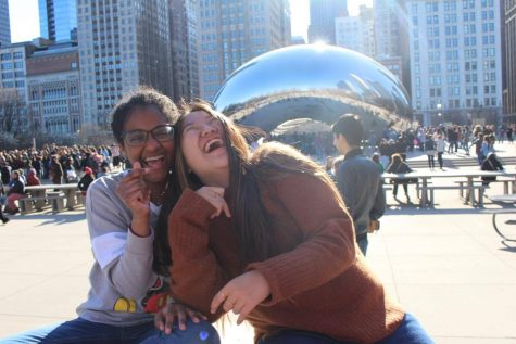 On a trip to Chicago, senior Didi Elsyad and a friend pose for a picture in front of the Cloud Gate.