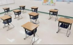 Student desks are left unfilled in Fairfax County Public School (FCPS) building due to the COVID-19 pandemic.