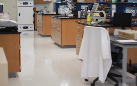 """The Neurobiology lab lies empty as schooling for the first quarter has moved online. However, with recent moves made by FCPS and TJ, students from select labs will soon be able to return to school every Monday. """"A small lab environment is a lot safer than going back to school for many classes every week,"""" senior Sophia Troshynski said of her decision to return to school."""