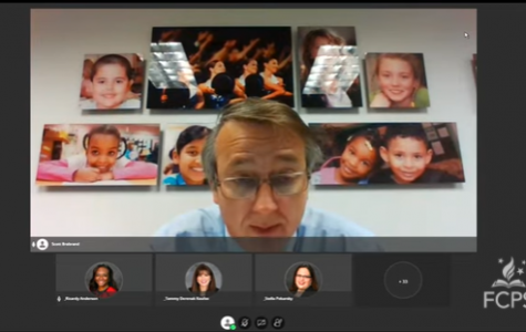 Superintendent Dr. Scott Brabrand announces changes to the Jefferson admissions process at a virtual school board meeting on October 8.