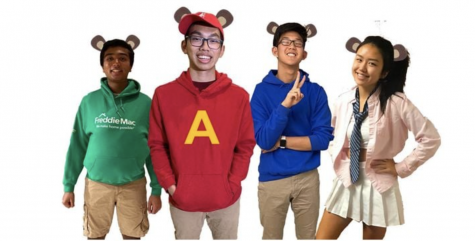 "SGA's Treasurer (Bhaswith Suresh), President (Sean Nguyen), Secretary (Jordan Lee), and Vice President (Tiffany Ji) dress up as Alvin and the Chipmunks for TV/Movie Tuesday. This year the SGA had to take a different approach to spirit weeks due to online schooling. ""We just wanted some way to engage students while virtual and connect us through pictures because a lot of people keep their cameras off in class,"" Ji said."