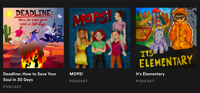 The cover arts for the three TJTA podcasts that have been released on Anchor and Spotify.