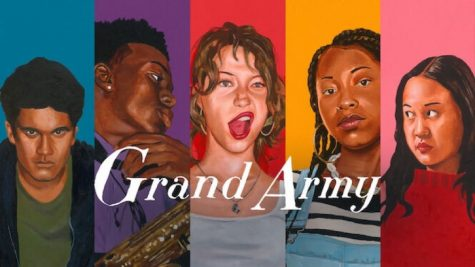 "The poster for ""Grand Army"" featuring the five main characters: Siddarth, Jayson, Joey, Dominique, and Leila, from left to right."